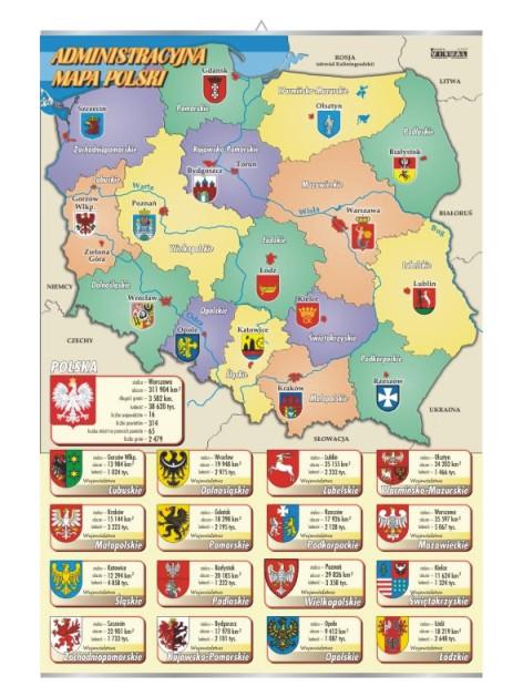 Plansza Mapa Administracyjna Polski Z Herbami Miast I Wojewodztw V