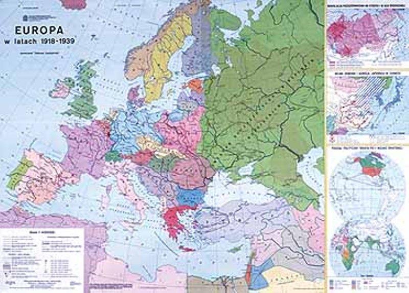 Mapa Europa W Latach 1918 1939 Plotno 9295 His008