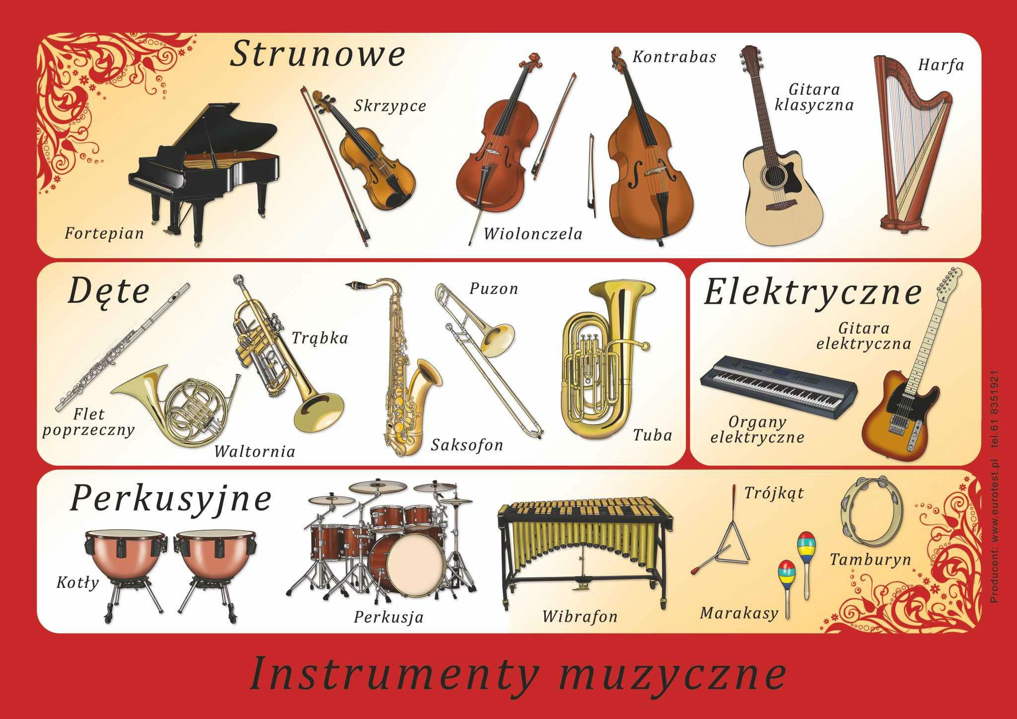 INSTRUMENTY MUZYCZNE ZESTAW PLANSZ E (PLA123)
