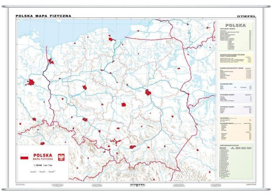 Polska Fizyczna Konturowa Mapa Plansza Dwustronna St Pla275